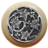Florals & Leaves Collection 1-1/2'' Diameter Ivy with Berries Round Wood Cabinet Knob in Antique Pewter and Natural, 1-1/2'' Diameter x 1-1/8'' D