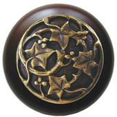 Florals & Leaves Collection 1-1/2'' Diameter Ivy with Berries Round Wood Cabinet Knob in Antique Brass and Dark Walnut, 1-1/2'' Diameter x 1-1/8'' D
