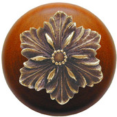Classic Collection 1-1/2'' Diameter Opulent Flower Round Wood Cabinet Knob in Antique Brass and Cherry, 1-1/2'' Diameter x 1-1/8'' D