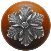 Classic Collection 1-1/2'' Diameter Opulent Flower Round Wood Cabinet Knob in Antique Pewter and Cherry, 1-1/2'' Diameter x 1-1/8'' D