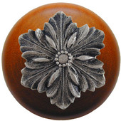 Classic Collection 1-1/2'' Diameter Opulent Flower Round Wood Cabinet Knob in Satin Nickel and Cherry, 1-1/2'' Diameter x 1-1/8'' D