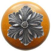 Classic Collection 1-1/2'' Diameter Opulent Flower Round Wood Cabinet Knob in Antique Pewter and Maple, 1-1/2'' Diameter x 1-1/8'' D