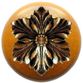 Classic Collection 1-1/2'' Diameter Opulent Flower Round Wood Cabinet Knob in Brite Brass and Maple, 1-1/2'' Diameter x 1-1/8'' D