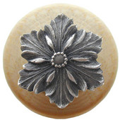 Classic Collection 1-1/2'' Diameter Opulent Flower Round Wood Cabinet Knob in Antique Pewter and Natural, 1-1/2'' Diameter x 1-1/8'' D