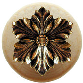 Classic Collection 1-1/2'' Diameter Opulent Flower Round Wood Cabinet Knob in Brite Brass and Natural, 1-1/2'' Diameter x 1-1/8'' D