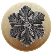 Classic Collection 1-1/2'' Diameter Opulent Flower Round Wood Cabinet Knob in Satin Nickel and Natural, 1-1/2'' Diameter x 1-1/8'' D