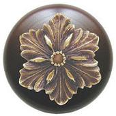 Classic Collection 1-1/2'' Diameter Opulent Flower Round Wood Cabinet Knob in Antique Brass and Dark Walnut, 1-1/2'' Diameter x 1-1/8'' D
