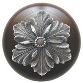 Classic Collection 1-1/2'' Diameter Opulent Flower Round Wood Cabinet Knob in Antique Pewter and Dark Walnut, 1-1/2'' Diameter x 1-1/8'' D