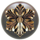 Classic Collection 1-1/2'' Diameter Opulent Flower Round Wood Cabinet Knob in Brite Brass and Dark Walnut, 1-1/2'' Diameter x 1-1/8'' D
