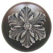 Classic Collection 1-1/2'' Diameter Opulent Flower Round Wood Cabinet Knob in Satin Nickel and Dark Walnut, 1-1/2'' Diameter x 1-1/8'' D