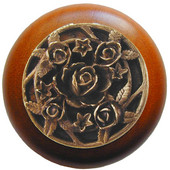 Florals & Leaves Collection 1-1/2'' Diameter Saratoga Rose Round Wood Cabinet Knob in Antique Brass and Cherry, 1-1/2'' Diameter x 1-1/8'' D