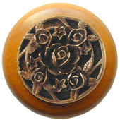 Florals & Leaves Collection 1-1/2'' Diameter Saratoga Rose Round Wood Cabinet Knob in Antique Brass and Dark Walnut, 1-1/2'' Diameter x 1-1/8'' D