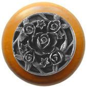 Florals & Leaves Collection 1-1/2'' Diameter Saratoga Rose Round Wood Cabinet Knob in Antique Pewter and Dark Walnut, 1-1/2'' Diameter x 1-1/8'' D