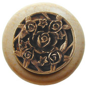 Florals & Leaves Collection 1-1/2'' Diameter Saratoga Rose Round Wood Cabinet Knob in Antique Brass and Natural, 1-1/2'' Diameter x 1-1/8'' D