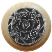 Florals & Leaves Collection 1-1/2'' Diameter Saratoga Rose Round Wood Cabinet Knob in Antique Pewter and Natural, 1-1/2'' Diameter x 1-1/8'' D
