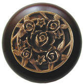 Florals & Leaves Collection 1-1/2'' Diameter Saratoga Rose Round Wood Cabinet Knob in Antique Brass and Maple, 1-1/2'' Diameter x 1-1/8'' D