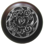 Florals & Leaves Collection 1-1/2'' Diameter Saratoga Rose Round Wood Cabinet Knob in Antique Pewter and Maple, 1-1/2'' Diameter x 1-1/8'' D