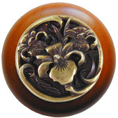 Nouveau Collection 1-1/2'' Diameter River Iris Round Wood Cabinet Knob in Antique Brass and Cherry, 1-1/2'' Diameter x 1-1/8'' D