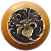Nouveau Collection 1-1/2'' Diameter River Iris Round Wood Cabinet Knob in Antique Brass and Dark Walnut, 1-1/2'' Diameter x 1-1/8'' D