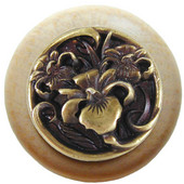 Nouveau Collection 1-1/2'' Diameter River Iris Round Wood Cabinet Knob in Antique Brass and Natural, 1-1/2'' Diameter x 1-1/8'' D
