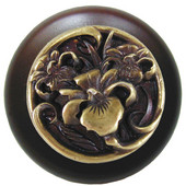 Nouveau Collection 1-1/2'' Diameter River Iris Round Wood Cabinet Knob in Antique Brass and Maple, 1-1/2'' Diameter x 1-1/8'' D