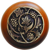 Tuscan Collection 1-1/2'' Diameter Grapevines Round Wood Cabinet Knob in Antique Brass and Cherry, 1-1/2'' Diameter x 1-1/8'' D