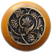 Tuscan Collection 1-1/2'' Diameter Grapevines Round Wood Cabinet Knob in Antique Brass and Maple, 1-1/2'' Diameter x 1-1/8'' D