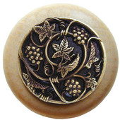 Tuscan Collection 1-1/2'' Diameter Grapevines Round Wood Cabinet Knob in Antique Brass and Natural, 1-1/2'' Diameter x 1-1/8'' D