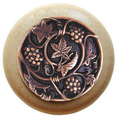Tuscan Collection 1-1/2'' Diameter Grapevines Round Wood Cabinet Knob in Antique Copper and Natural, 1-1/2'' Diameter x 1-1/8'' D