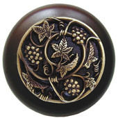 Tuscan Collection 1-1/2'' Diameter Grapevines Round Wood Cabinet Knob in Antique Brass and Dark Walnut, 1-1/2'' Diameter x 1-1/8'' D