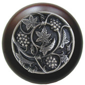 Tuscan Collection 1-1/2'' Diameter Grapevines Round Wood Cabinet Knob in Antique Pewter and Dark Walnut, 1-1/2'' Diameter x 1-1/8'' D