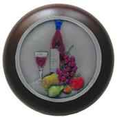 Tuscan Collection 1-1/2'' Diameter Best Cellar Round Wood Cabinet Knob in Hand-Tinted Antique Pewter and Dark Walnut, 1-1/2'' Diameter x 1-1/8'' D