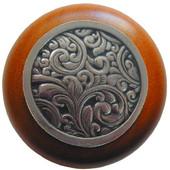 Classic Collection 1-1/2'' Diameter Saddleworth Round Wood Cabinet Knob in Brite Nickel and Cherry, 1-1/2'' Diameter x 1-1/8'' D