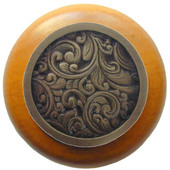 Classic Collection 1-1/2'' Diameter Saddleworth Round Wood Cabinet Knob in Antique Brass and Maple, 1-1/2'' Diameter x 1-1/8'' D