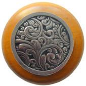 Classic Collection 1-1/2'' Diameter Saddleworth Round Wood Cabinet Knob in Brite Nickel and Maple, 1-1/2'' Diameter x 1-1/8'' D