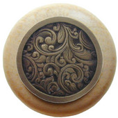 Classic Collection 1-1/2'' Diameter Saddleworth Round Wood Cabinet Knob in Antique Brass and Natural, 1-1/2'' Diameter x 1-1/8'' D