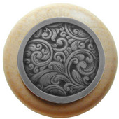 Classic Collection 1-1/2'' Diameter Saddleworth Round Wood Cabinet Knob in Antique Pewter and Natural, 1-1/2'' Diameter x 1-1/8'' D