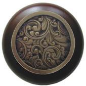 Classic Collection 1-1/2'' Diameter Saddleworth Round Wood Cabinet Knob in Antique Brass and Dark Walnut, 1-1/2'' Diameter x 1-1/8'' D