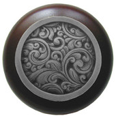 Classic Collection 1-1/2'' Diameter Saddleworth Round Wood Cabinet Knob in Antique Pewter and Dark Walnut, 1-1/2'' Diameter x 1-1/8'' D