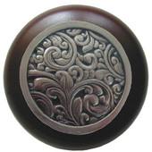 Classic Collection 1-1/2'' Diameter Saddleworth Round Wood Cabinet Knob in Brite Nickel and Dark Walnut, 1-1/2'' Diameter x 1-1/8'' D