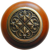 Chateau Collection 1-1/2'' Diameter Fleur-de-Lis Round Wood Cabinet Knob in Antique Brass and Cherry, 1-1/2'' Diameter x 1-1/8'' D