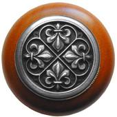 Chateau Collection 1-1/2'' Diameter Fleur-de-Lis Round Wood Cabinet Knob in Antique Pewter and Cherry, 1-1/2'' Diameter x 1-1/8'' D