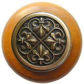 Chateau Collection 1-1/2'' Diameter Fleur-de-Lis Round Wood Cabinet Knob in Antique Brass and Maple, 1-1/2'' Diameter x 1-1/8'' D