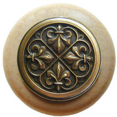 Chateau Collection 1-1/2'' Diameter Fleur-de-Lis Round Wood Cabinet Knob in Antique Brass and Natural, 1-1/2'' Diameter x 1-1/8'' D