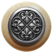 Chateau Collection 1-1/2'' Diameter Fleur-de-Lis Round Wood Cabinet Knob in Antique Pewter and Natural, 1-1/2'' Diameter x 1-1/8'' D