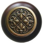 Chateau Collection 1-1/2'' Diameter Fleur-de-Lis Round Wood Cabinet Knob in Antique Brass and Dark Walnut, 1-1/2'' Diameter x 1-1/8'' D