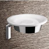 Gedy Soap Holder, 3-7/10'' H x 5-1/2'' W x 5-7/10'' D, Chrome/White