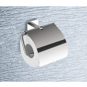 Wall Mounted Chrome Toilet Roll Holder with Cover, 5-9/10'' L x 3-1/10'' W x 5-1/10'' H, Chrome