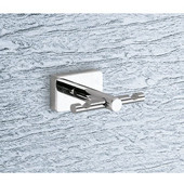 Wall Mounted Chrome Double Hook with Wood Base, 2-1/2'' L x 1-9/10'' W x 2'' H, Wenge