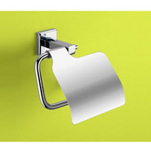 Wall Mounted Chrome Toilet Roll Holder with Cover, 5-3/5'' L x 2-1/2'' W x 4-7/10'' H, Chrome